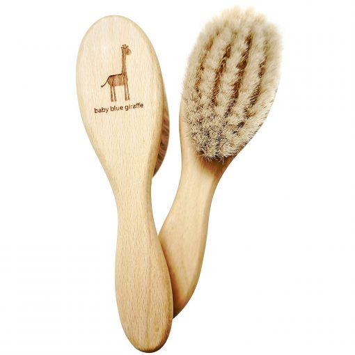 Baby Blue Giraffe Baby Hair Brush Front and Back View