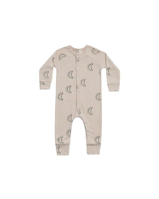 Rylee + Cru Moons Long John, Sleepy Moon Baby Pajamas, Baby and Children's Long Johns Moon Pattern by Rylee and Cru