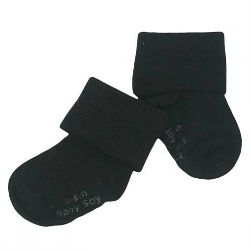 babysoy Non-Slip Solid Socks in Black Pirate