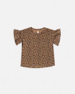 Rylee Cru Flutter Sleeve Tee Cheetah print