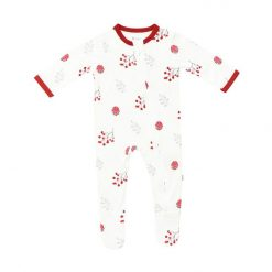 Kyte BABY Zippered Footie in Holly Berry