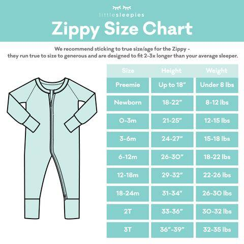 Little Sleepies Zippy Size Chart