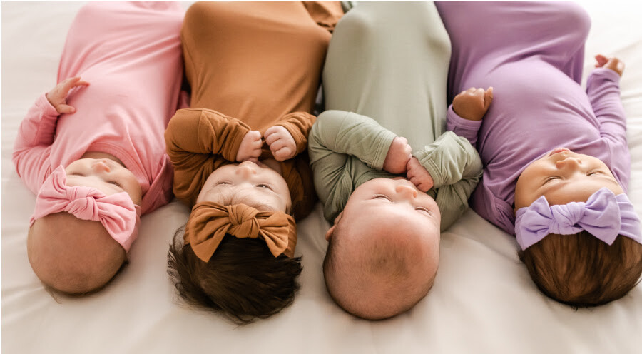 Little Sleepies Solid Colors Caramel, Bubblegum, Stormy, Wisteria