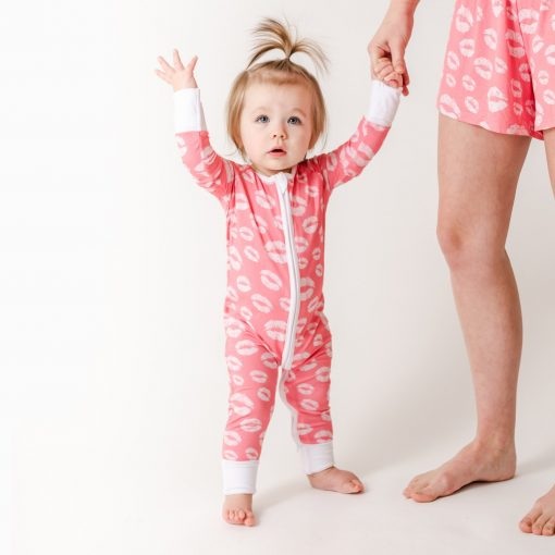 Little Sleepies Kisses Valentine's Day Bamboo Sleeper/Romper available in Twin Cities at Blossom Baby & Maternity