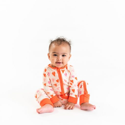 Little Sleepies Hearts Gender Neutral Valentine's Day Bamboo Sleeper/Romper available in Twin Cities at Blossom Baby & Maternity