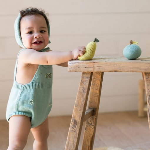 Shake Rattle and Play with this Knit Pear Rattle from blabla
