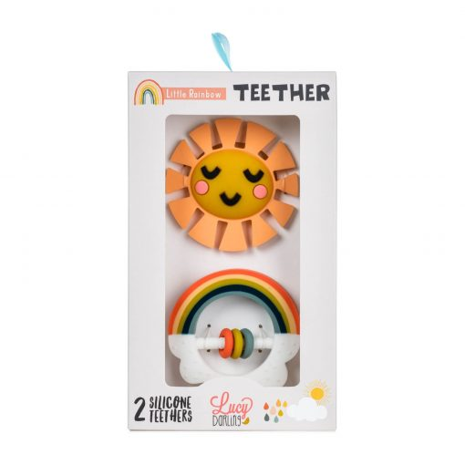 Rainbow teether toy packaging
