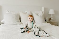 Farm and Aqua Baby and Toddler Blanket Quilt by Copper Pearl