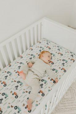 Farm Pattern Baby Crib Sheet by Copper Pearl