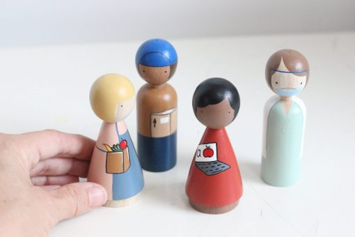 Essential Workers Set of Four Peg Doll Set by Goose Grease