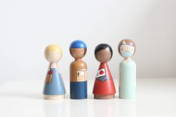 Organic Essential Workers Handmade Wooden Figurines Peg Dolls by Goose Grease