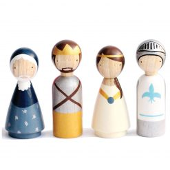 King Arthur's Court Organic Handmade Wooden Figurines Peg Dolls by Goose Grease