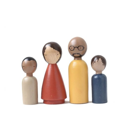 Organic Gender Neutral Family II Handmade Wooden Figurines Peg Dolls by Goose Grease