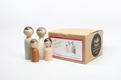 Gender Neutral Family of Four Peg Doll Set by Goose Grease