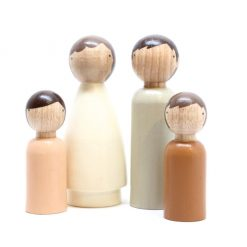 Organic Gender Neutral Family Handmade Wooden Figurines Peg Dolls by Goose Grease