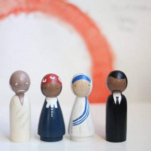 Organic Peace Makers Handmade Wooden Figurines Peg Dolls by Goose Grease