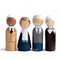 The Scientists Handmade Wooden Figurines Peg Dolls Set of Four Peg Doll Set by Goose Grease
