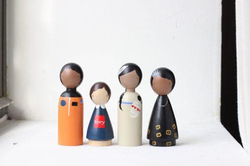 The Trailblazers II Historical Women Organic Handmade Wooden Figurines Peg Dolls by Goose Grease