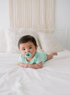 Safe and Cute Baby Pacifier Set in Mint and White Color by Itzy Ritzy