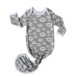 Gray Kisses Bamboo Viscose Infant Knotted Gown