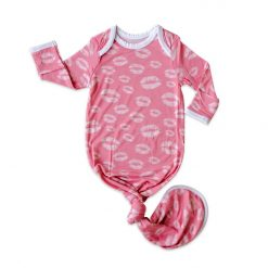 Pink Kisses Bamboo Viscose Infant Knotted Gown