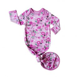 Sweetheart Floral Bamboo Viscose Infant Knotted Gown