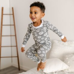 Little Sleepies Gray Kisses Two-Piece Bamboo Viscose Toddler Pajama Set
