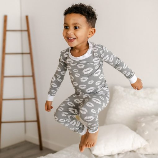 Little Sleepies Gray Kisses Two-Piece Bamboo Viscose Toddler Pajama Set