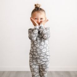 Little Sleepies Valentine's Day Collection Gray and White Kisses Pattern Toddler Two-Piece Long Sleeve Pajama Set