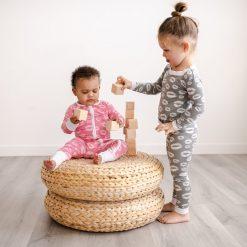 Organic Bamboo Viscose Baby and Toddler Pajamas Gray Kisses Long Sleeve Toddler Pajama Set by Little Sleepies
