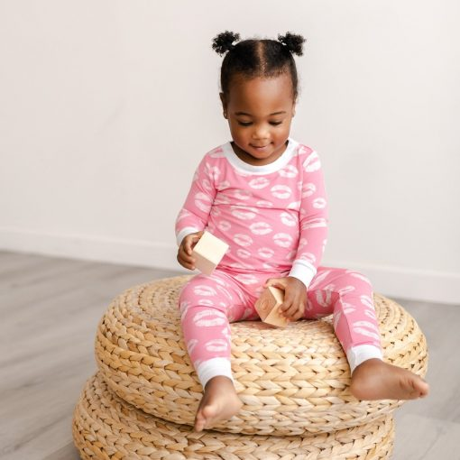Little Sleepies Valentine's Day Collection Pink and White Kisses Pattern Toddler Two-Piece Long Sleeve Pajama Set