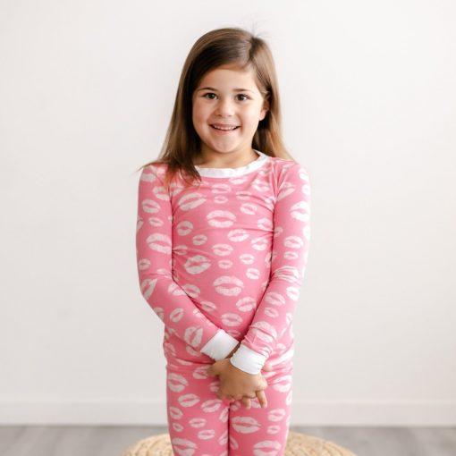 Little Sleepies Pink Kisses Two-Piece Bamboo Viscose Toddler Pajama Set