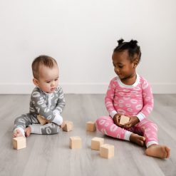 Organic Bamboo Viscose Baby and Toddler Pajamas Pink Kisses Long Sleeve Toddler Pajama Set by Little Sleepies