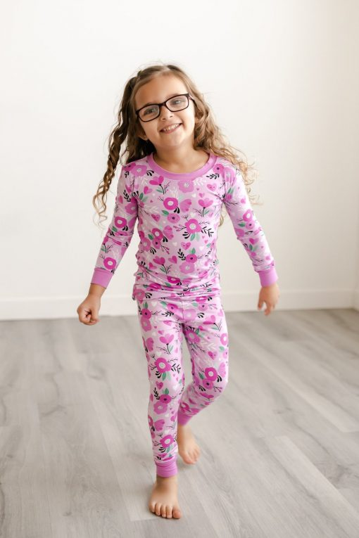 Little Sleepies Valentine's Day Collection Pink Flowers and Hearts Pattern Toddler Two-Piece Long Sleeve Pajama Set