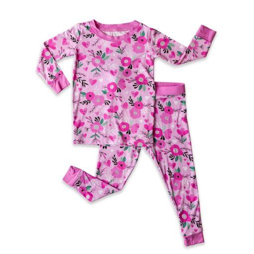 Organic Bamboo Viscose Baby and Toddler Pajamas Sweetheart Floral Long Sleeve Toddler Pajama Set by Little Sleepies
