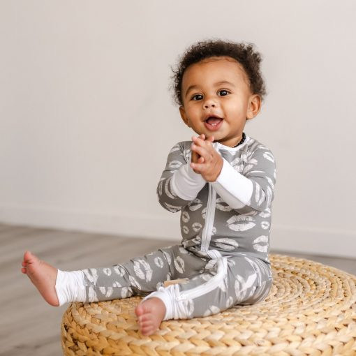 Little Sleepies Gray Kisses Bamboo Viscose Zippy Romper Footie Pajamas