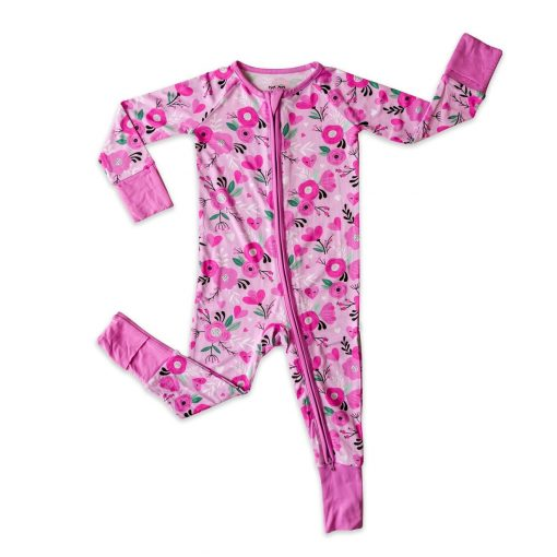 Bamboo Viscose Baby Pajamas Romper Footie by Little Sleepies Pink Floral Hearts Pattern