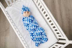 Little Sleepies Horizon Triangles Bamboo Swaddle & Hat Set