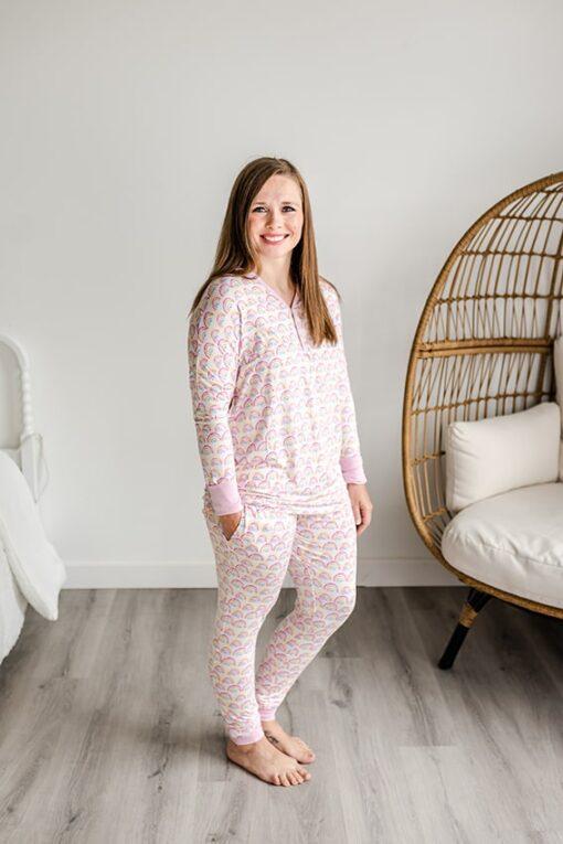 Little Sleepies Women's Pastel Rainbow Pajamas
