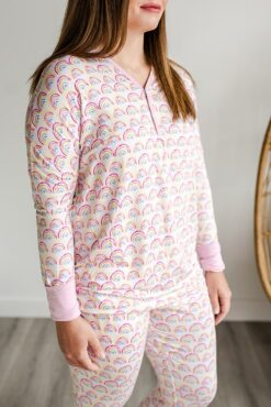 Little Sleepies Women's Matching Family Pajama Top in Pastel Rainbow