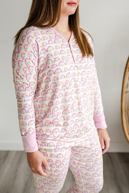 Little Sleepies Women's Matching Family Pajama Top in Pastel Rainbow