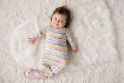 Little Sleepies Sunrise Stripe Bamboo Viscose Infant Knotted Gown