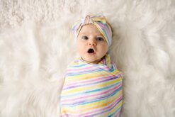Little Sleepies Sunrise Stripe Bamboo Swaddle & Headband Set