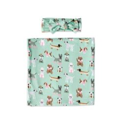 Little Sleepies Gift Set in Aqua Puppy Love with Multi-functional Baby Swaddle and Matching Bow Headband