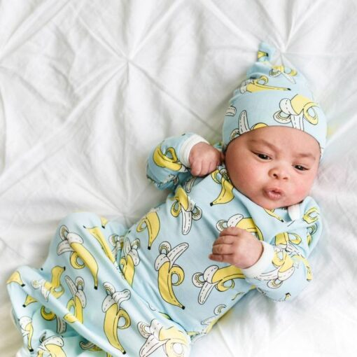 Little Sleepies Bananas on Blue Bamboo Viscose Adjustable Baby Knotted Gown