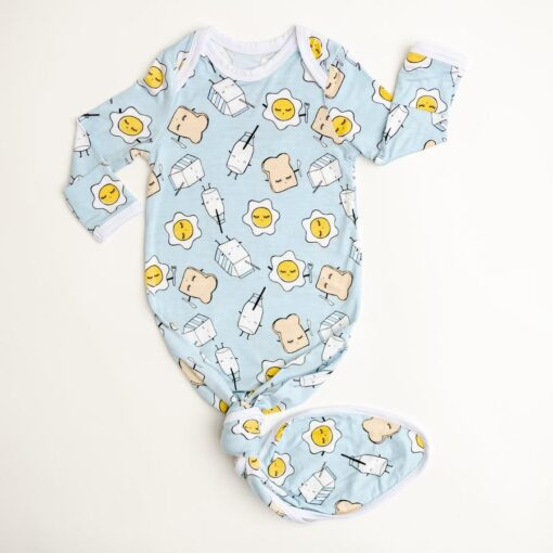 Little Sleepies Bamboo Viscose Blue Breakfast Buddies Infant Knotted Gown