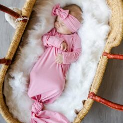 Little Sleepies Bubblegum Pink Bamboo Viscose Adjustable Baby Knotted Gown