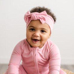 Bubblegum Pink Bamboo Baby Headband Bow by Little Sleepies