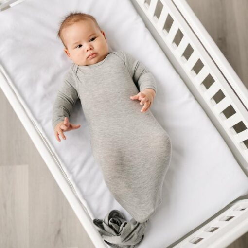 Little Sleepies Heather Gray Bamboo Viscose Adjustable Baby Knotted Gown