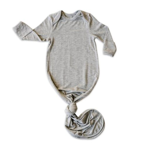 Little Sleepies Bamboo Viscose Heather Gray Infant Knotted Gown